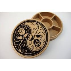 Boîte yin yang motifs fleurs